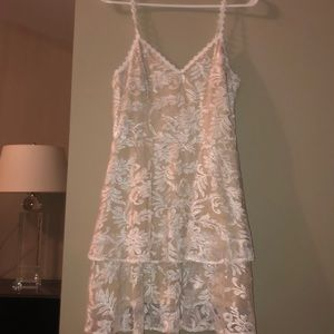 Tan White Lace Short Prom Girl Party Dress